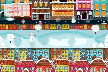 Seamless Winter Houses